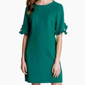 Karl Lagerfeld | Emerald Pearl Ruffle Sleeve Dress